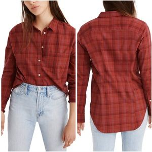 NEW Madewell Oversized Plaid Red Button Shirt